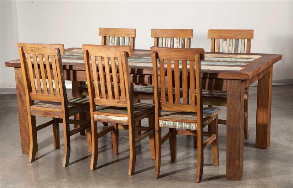 שולחן אוכל נפתח מעץ ממוחזר