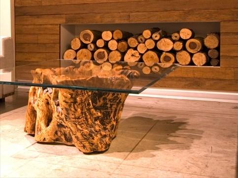 גזע שולחן אורגני לסלון