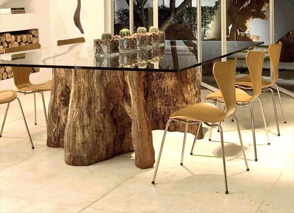 שולחן אורגני מקליפת עץ