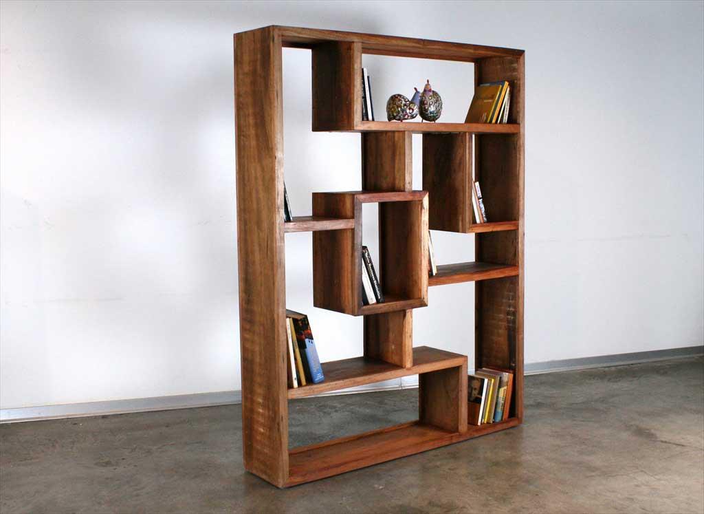 ספריה מעץ מלא ממוחזר