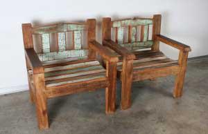 ספסל / כורסא מעץ מלא וממוחזר