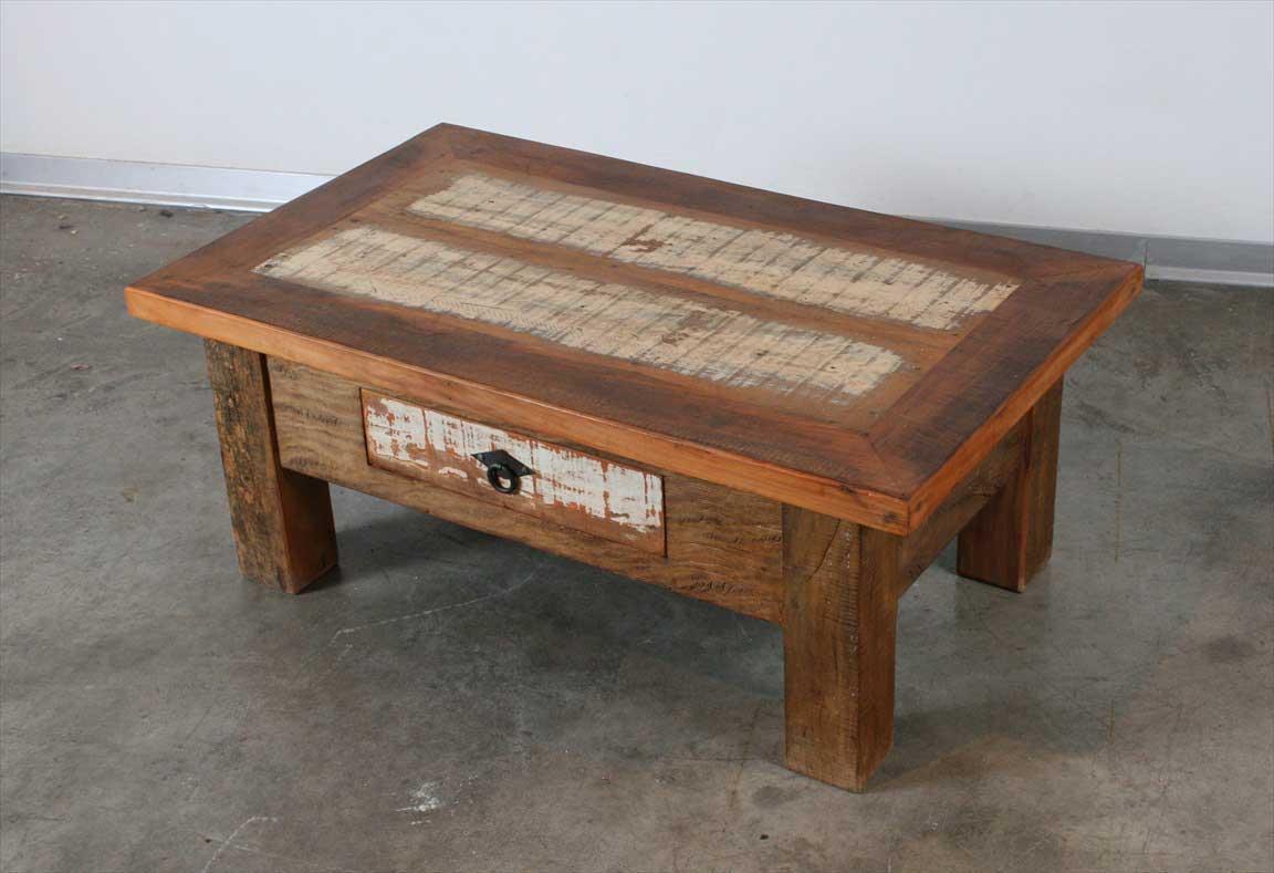 שולחן סלוני מעץ מלא ממוחזר (צבעוני)