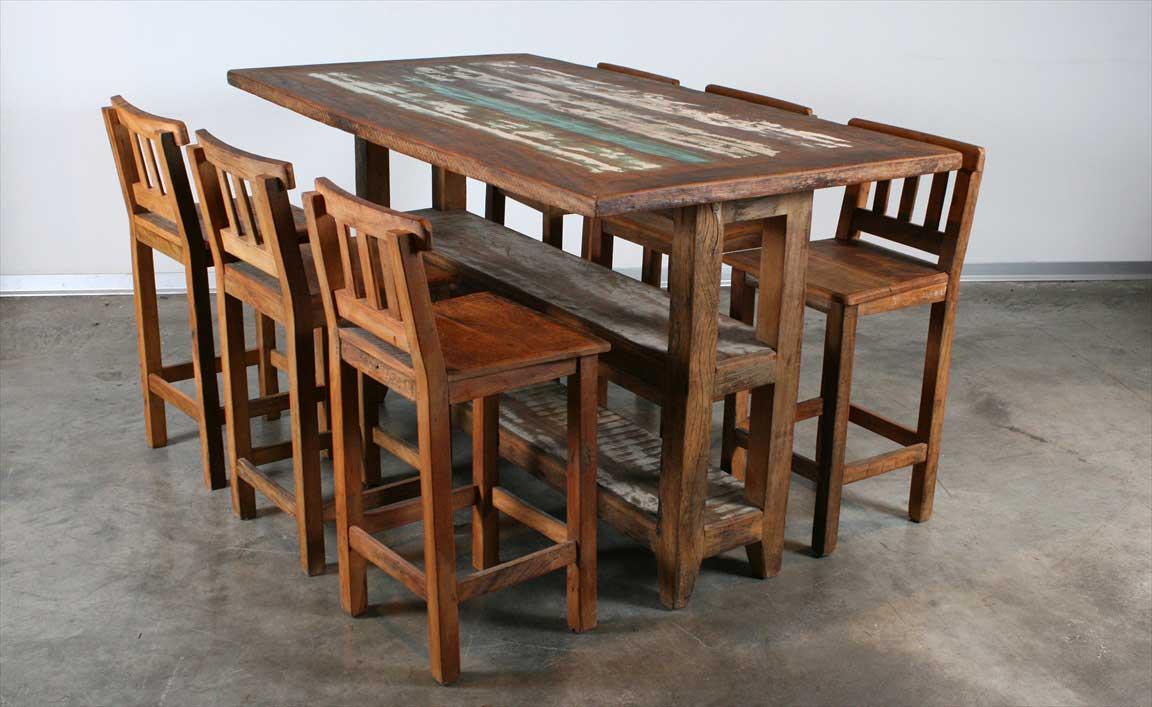 שולחן בר מעץ מלא ממוחזר