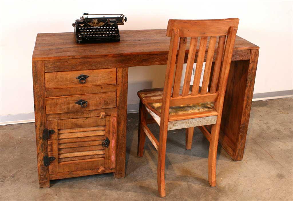 שולחן משרדי מעץ מלא ממוחזר