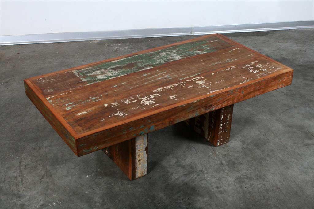 שולחן סלוני רגליים פנימיות מעץ ממוחזר
