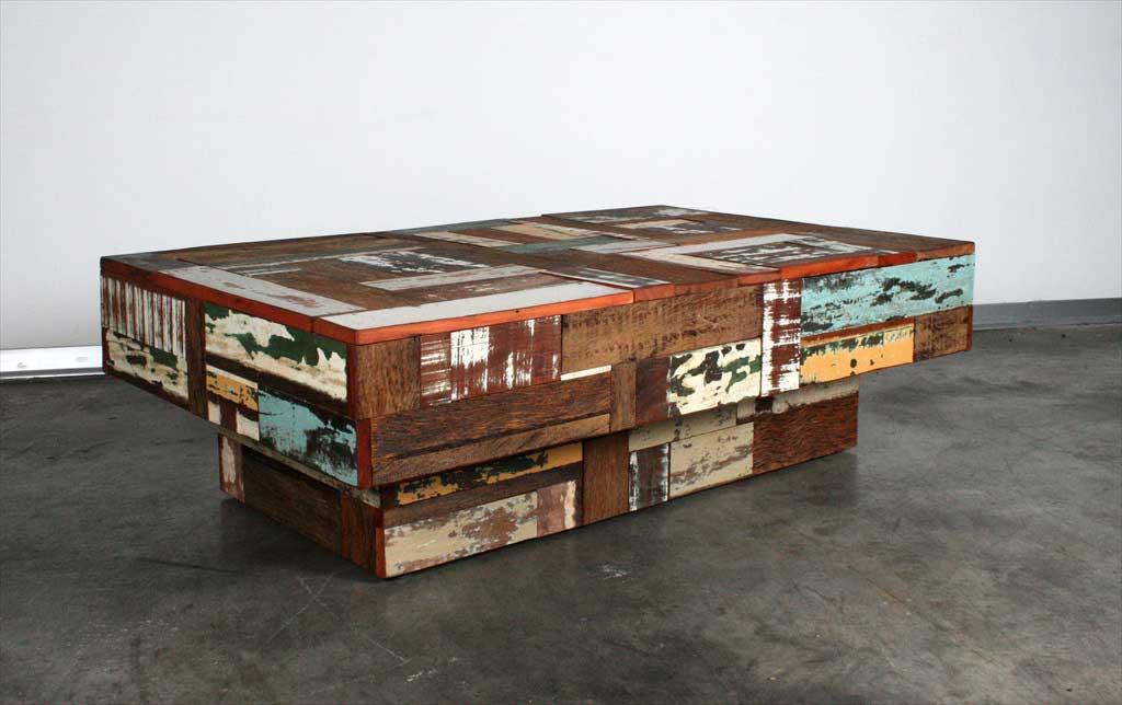 שולחן סלוני צבעוני מעץ ממוחזר